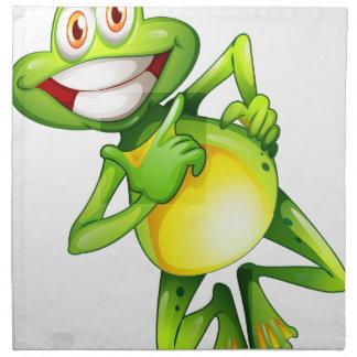 Una rana muy sonriente servilleta imprimida