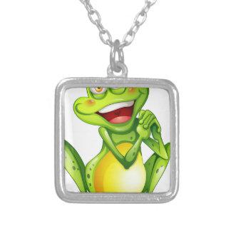 Una rana verde alegre colgante cuadrado