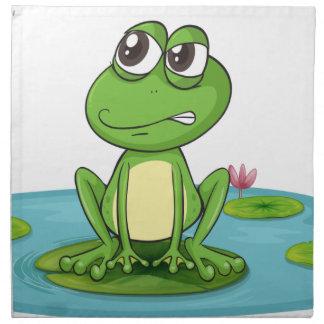 una rana y un agua servilleta imprimida