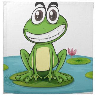 una rana y un agua servilleta