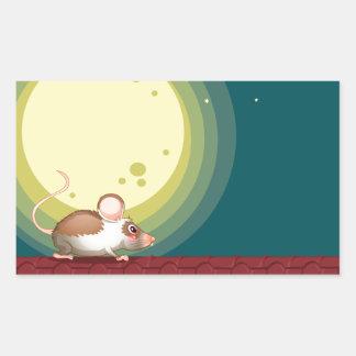 Una rata en el tejado pegatina rectangular