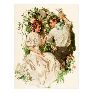 Una reunión romántica en la rosaleda tarjetas postales