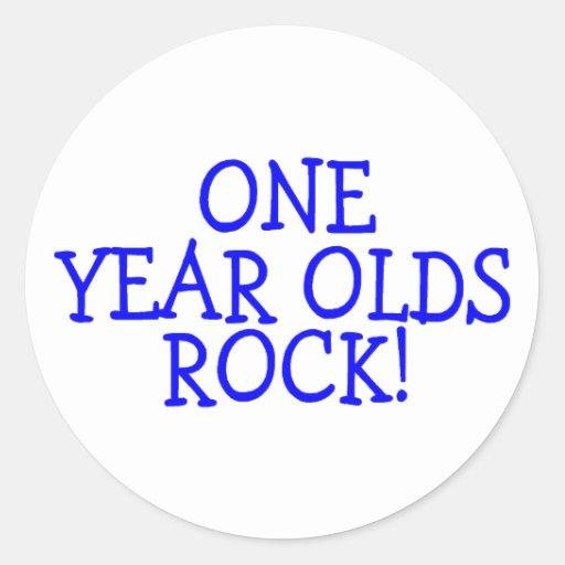 Una roca de los años (azul) pegatina redonda