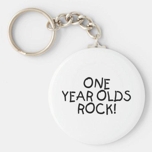 Una roca de los años (negro) llaveros personalizados