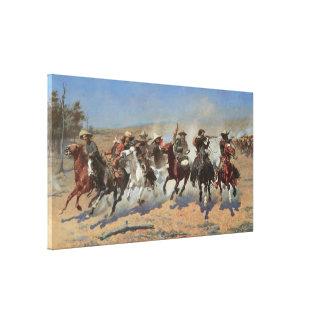 Una rociada para la madera por Remington, vaqueros Impresión En Lona Estirada