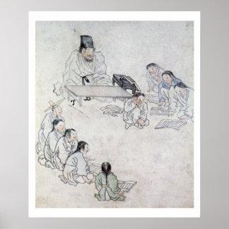 Una sala de clase confuciana (Sodang) (impresión d Póster