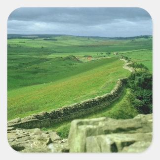 Una sección de la pared de Hadrian, ANUNCIO del Pegatina Cuadrada