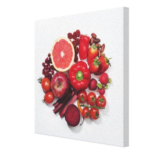 Una selección de frutas y de verduras rojas impresiones en lona