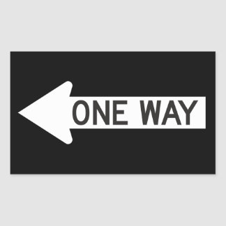 Una señal de tráfico de la flecha de la manera pegatina rectangular