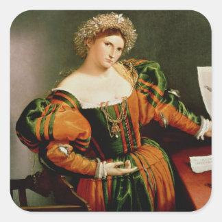 Una señora con un dibujo de Lucretia, c.1530-33 Pegatina Cuadrada