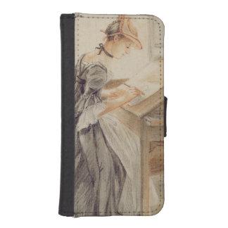 Una señora Copying en una tabla de dibujo, Funda Tipo Billetera Para iPhone 5