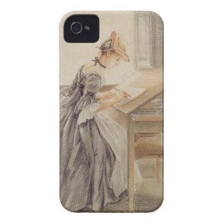 Una señora Copying en una tabla de dibujo, iPhone 4 Case-Mate Funda