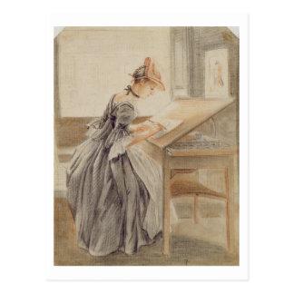 Una señora Copying en una tabla de dibujo, Postal