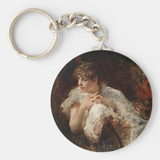 Una señora de Nápoles - Giuseppe De Nittis Llavero Redondo Tipo Pin
