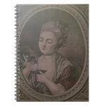 Una señora Drinking Chocolate (litho del color) Libros De Apuntes Con Espiral