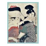 Una señora en esperar y su criado Ukiyoe Postales