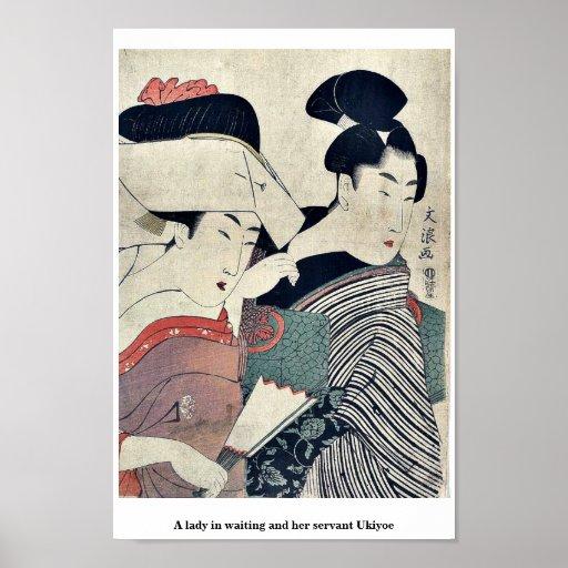 Una señora en esperar y su criado Ukiyoe Poster