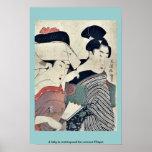 Una señora en esperar y su criado Ukiyoe Posters