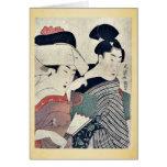 Una señora en esperar y su criado Ukiyoe Tarjeta