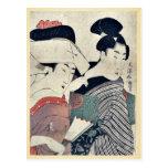 Una señora en esperar y su criado Ukiyoe Tarjeta Postal