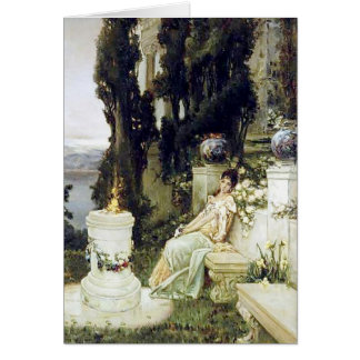 Una señora en un banco de mármol - Wilhelm Kotarbi Tarjeta