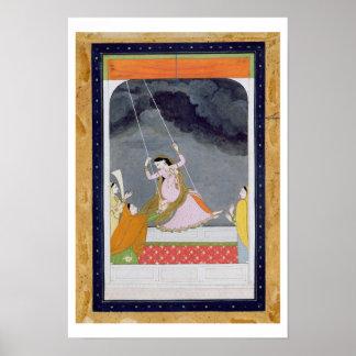 Una señora en un oscilación, Kangra, colinas c.179 Póster