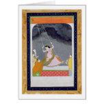 Una señora en un oscilación, Kangra, colinas c.179 Tarjetón