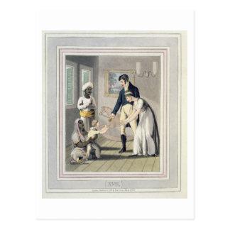 Una señora europea y su familia, asistidas por un  tarjetas postales