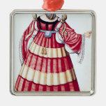 Una señora milanesa adorno navideño cuadrado de metal