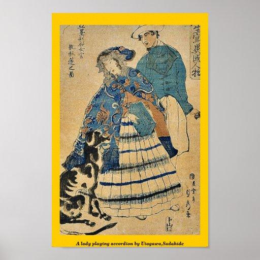 Una señora que juega el acordeón por Utagawa, Sada Póster