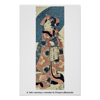 Una señora que lleva un calendario por Utagawa Ku Posters
