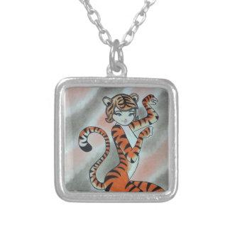 Una señora salvaje Tiger Original Colgante Cuadrado