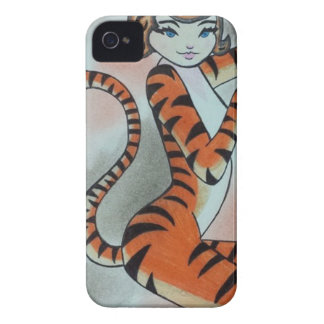 Una señora salvaje Tiger Original iPhone 4 Case-Mate Cobertura