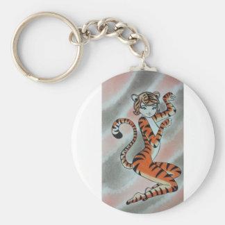 Una señora salvaje Tiger Original Llavero Redondo Tipo Pin