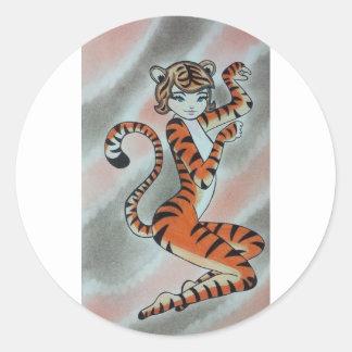 Una señora salvaje Tiger Original Pegatina Redonda