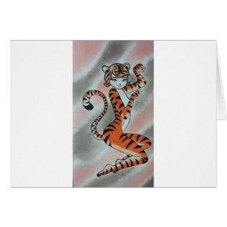 Una señora salvaje Tiger Original Tarjeta De Felicitación