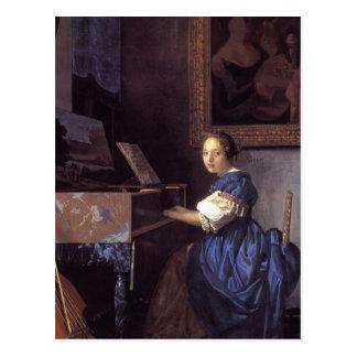 Una señora Seated en el Virginal Postal