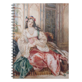 Una señora Seated en un otomano Turki que lleva in Libreta Espiral