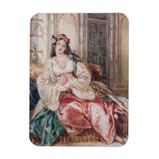 Una señora Seated en un otomano Turki que lleva in Imanes