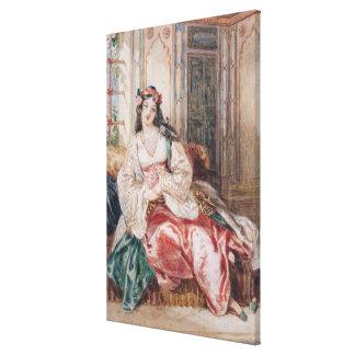 Una señora Seated en un otomano Turki que lleva in Lienzo Envuelto Para Galerias