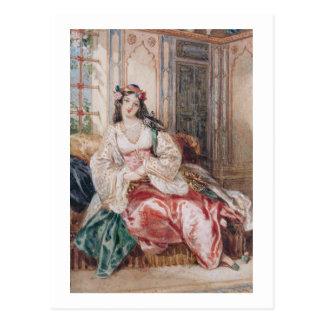 Una señora Seated en un otomano Turki que lleva Postales