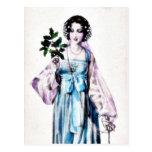 Una señora sostiene las hojas en una mano postal