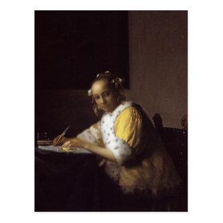 Una señora Writing Postales