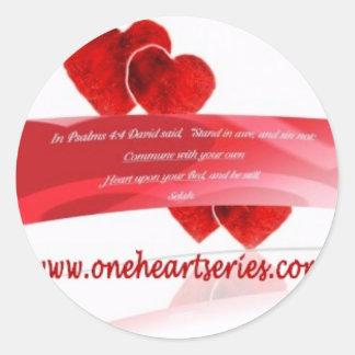 Una serie del corazón (r) etiqueta redonda