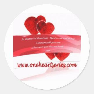 Una serie del corazón (r) pegatina redonda