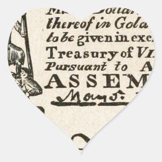 Una sexta parte de un dólar - moneda de Virginia Pegatina En Forma De Corazón
