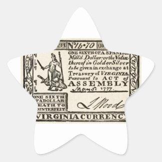 Una sexta parte de un dólar - moneda de Virginia Pegatina En Forma De Estrella