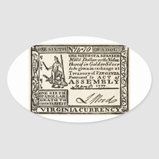 Una sexta parte de un dólar - moneda de Virginia Pegatina Ovalada
