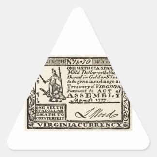 Una sexta parte de un dólar - moneda de Virginia Pegatina Triangular
