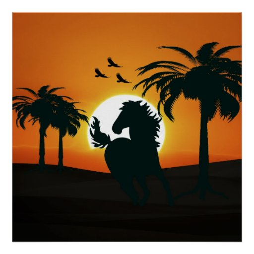 Una silueta del caballo en la puesta del sol impresiones